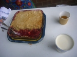Crumble and cream - it was delicious!